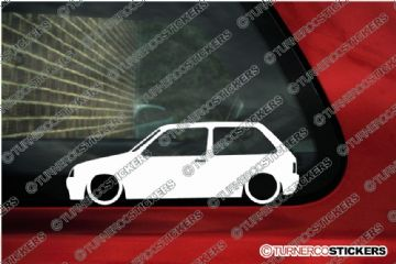 2x LOW Rover / MG Metro retro car outline stickers